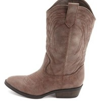 Pointed Toe Embroidered Cowboy Boots by Charlotte Russe - Cognac