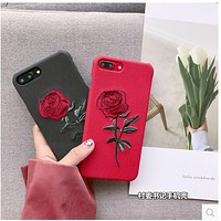 Embroidered roses iphone6s mobile phone shell 7PLUS leather case iphone 6plus soft shell 7 creative female tide