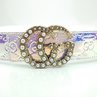 GUCCI Transparent Laser Belt Pearl Double G Letter Buckle Belt