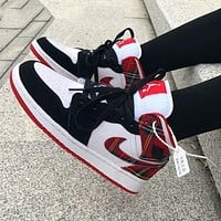 Air Jordan Mid AJ1 Women's Red Plaid Christmas Sneakers Shoes