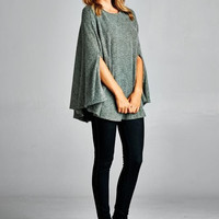 Warm and Fuzzies Poncho in Green