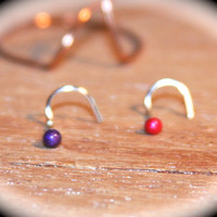 Set of 2 - Tiny Nose Stud, 22 gauge, Smokin Hot Red and Purple Dream Itty Bitty 2mm Nose Studs, Small Nose Ring, Piercing Jewelry