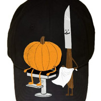 Pumpkin Carver Knife Barber Shop 100% Cotton Black Adjustable Cap Hat