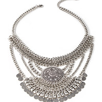 FOREVER 21 Coin Fringe Pendant Necklace Silver One