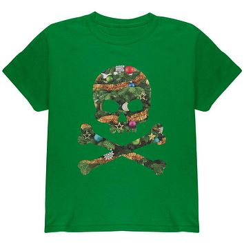 Skull And Crossbones Christmas Tree Cut Out Green Youth T-Shirt