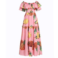 Boho Pineapple Print Long Dress