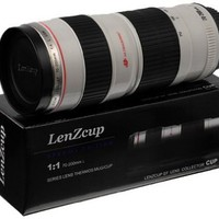 Thermo LenZcup with Stainless Steel Insulated Tumbler (Modeling 1:1 Canon EF 70-200mm f/4L USM Lens, White), 16oz