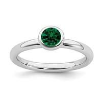 Sterling Silver Stackable Expressions Low 5mm Round Cr. Emerald Ring