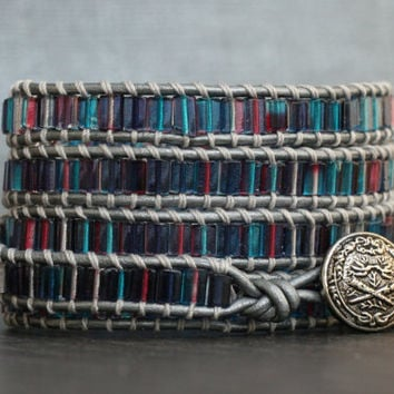 wrap bracelet- teal pink purple tile beads on silver leather- boho gypsy bohemian jewelery - stained glass
