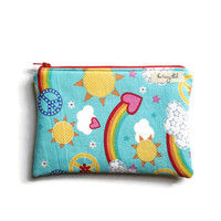 Wet Bag for Cloth Pads, Cosmetic Case, Peace and Love Makeup Bag, Wipe Clean Make Up Bag, Gift for Her