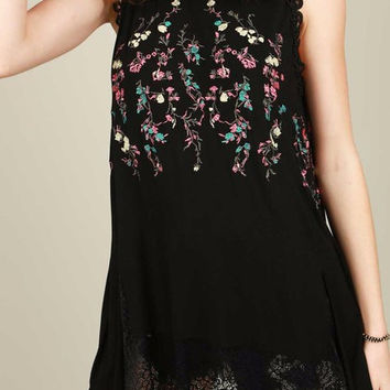 Embroidered Sleeveless Top Tunic Lace in Black