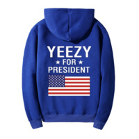 """""""YEEZY""""Fashion loose leisure hooded print sweater Blue"""