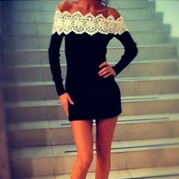 Fashion Women Sexy Off Shoulder Slim Party Casual Lace Mini Dress
