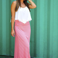 The Stripe Side Maxi Skirt: Bright Coral | Hope's