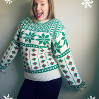 Red & Green Snowflake Ugly Christmas Party Sweater