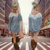 Women Lace Blouse Long Sleeve CASUAL T Shirt Sweater Tops pullover Top Blouse