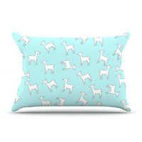"Monika Strigel ""Baby Llama Multi"" Blue White Pillow Sham"