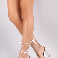 Transparent Chunky Lucite Heeled Ankle Boots