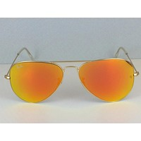 Cheap NEW Ray Ban Aviator 3025 112/69 Sunglasses GOLD frame RED ORANGE FIRE MIRROR outlet