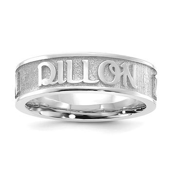 14K White Gold Polished and Textured Personalized Name Ring