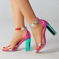 Elegant buckle round toe chunky high heel sandals laser rose vamp with green heel