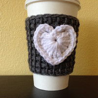 Gray Coffee Cozy with White Heart, Tunisian Crochet Coffee Sleeve with White  heart, To-Go Cup Cozy, Reusable Eco Friendly