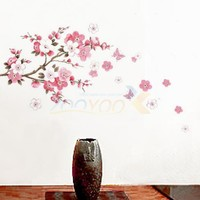 Small sakura flower wall stickers bedroom room pvc decal arts diy 6008 home decorations wall decals
