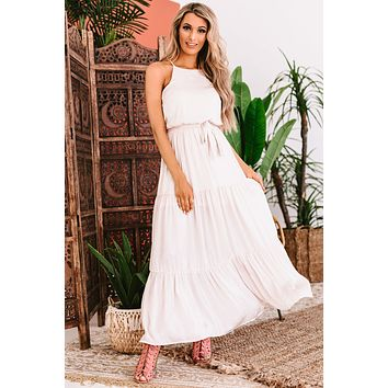 Can't Handle This Tiered Satin Maxi Dress (Ecru)