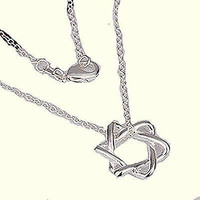 """Basket Hill, 925 Silver """" Star of David"""" Free Form Necklace"""