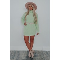 How About Now Sweater Dress: Honeydew