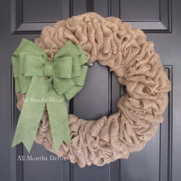 Burlap Wreath with Moss Green Bow