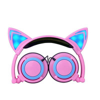 Hot Foldable Flashing Glowing cat ear headphones Gaming Headset with LED light headphone For PC Laptop Computer Mobile Phone