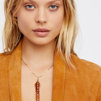 Free People Glistening Delicate Feather Necklace