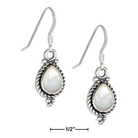 Sterling Silver Roped Teardrop Mother Of Pearl Earrings On French Wires
