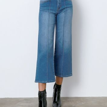 On Point Wide Leg Denim Jeans - Blue