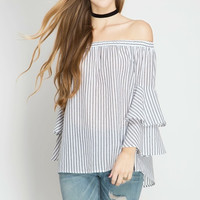 Layered Bell Sleeve Off the Shoulder Top