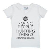 Saving People, Hunting Things-Female White T-Shirt