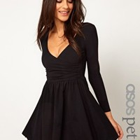 ASOS PETITE Exclusive Skater Dress With Ballet Wrap And Long Sleeves at asos.com
