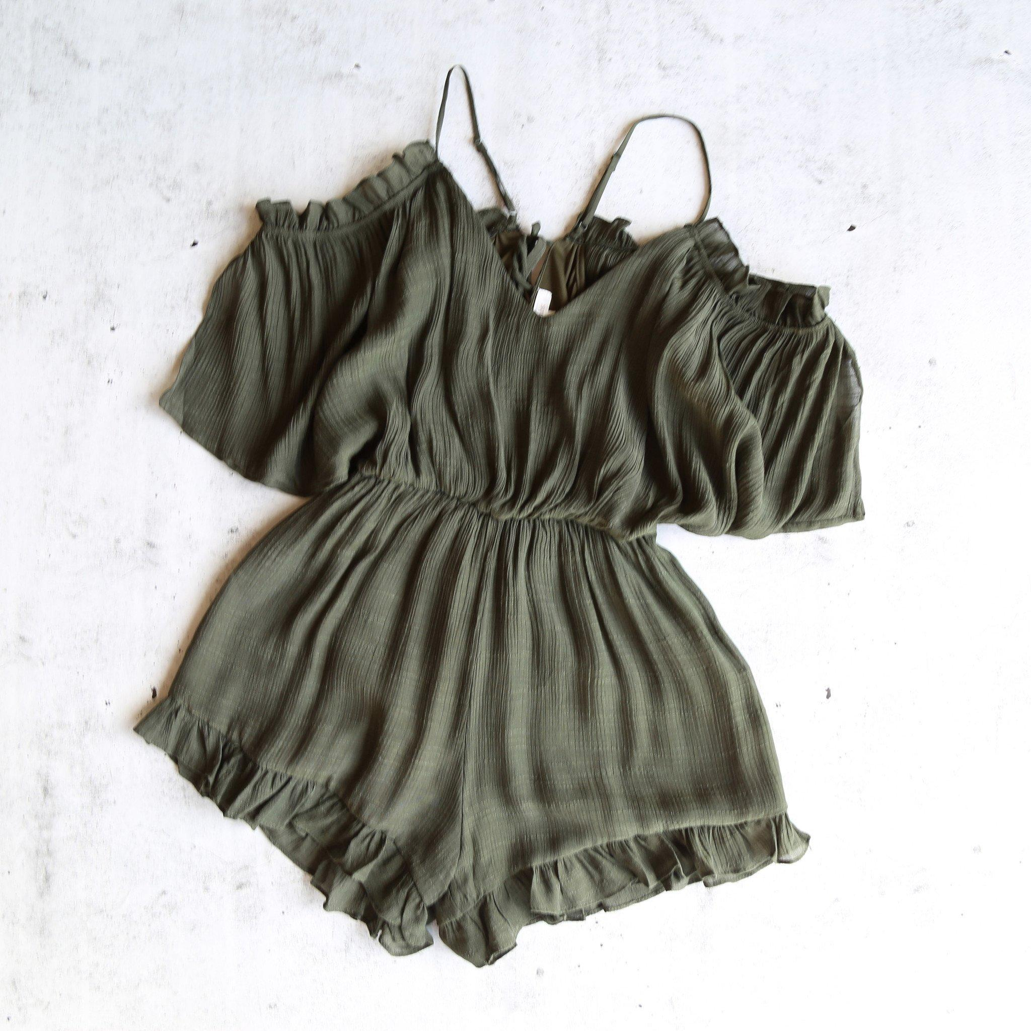 Image of crinkled peek a boo shoulder romper with ruffle hem - more colors