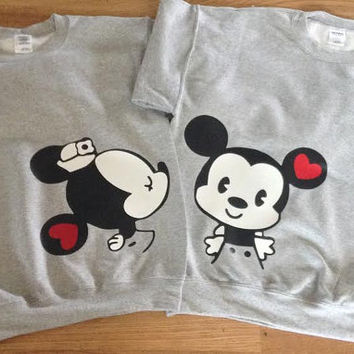 Free Shipping for US Mr and Mrs Mickey and Minnie Kissing Cuties Couples Sweatshirts