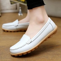 Boat shoes for women flats shoes rubber solid  Ladies shoes genuine leather casual shoes round toe pigskin zapatos de mujer