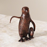 Global Views Penguin Papa and Baby Copper Figurine