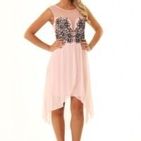 JD308 stunning pink Lily high low dress with flower bust