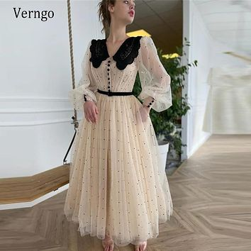 Verngo Elegant Beige Dotted Tulle Prom Gowns Long Puffy Sleeves Black Lapel Neck Buttons 2021 A Line Tea Length Homecoming Dress