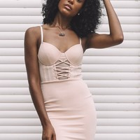 Date Night Nude Bustier Lace Up Dress