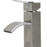 ALFI brand AB1258 Brushed Nickel Square Body Curved Spout Single Lever Bathroom Faucet