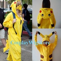 Pokemon Pikachu Costume Sleepwear Japanese Anime Cosplay Costume One-piece Pajamas High Quality