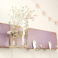 wall key rack wood mason jar - purple lilac - silver hooks