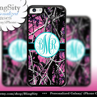 Camo Aqua Monogram iPhone 5C 6 Plus Case iPhone 5s 4 case Ipod muddy Realtree Personalized Country Inspired Girl
