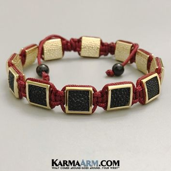 FlatBead Collection: Stingray Leather | Gold | Red Cord Flat Bead Bracelet